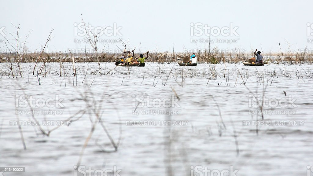 Village on the water. Ganvie, Benin. stock photo