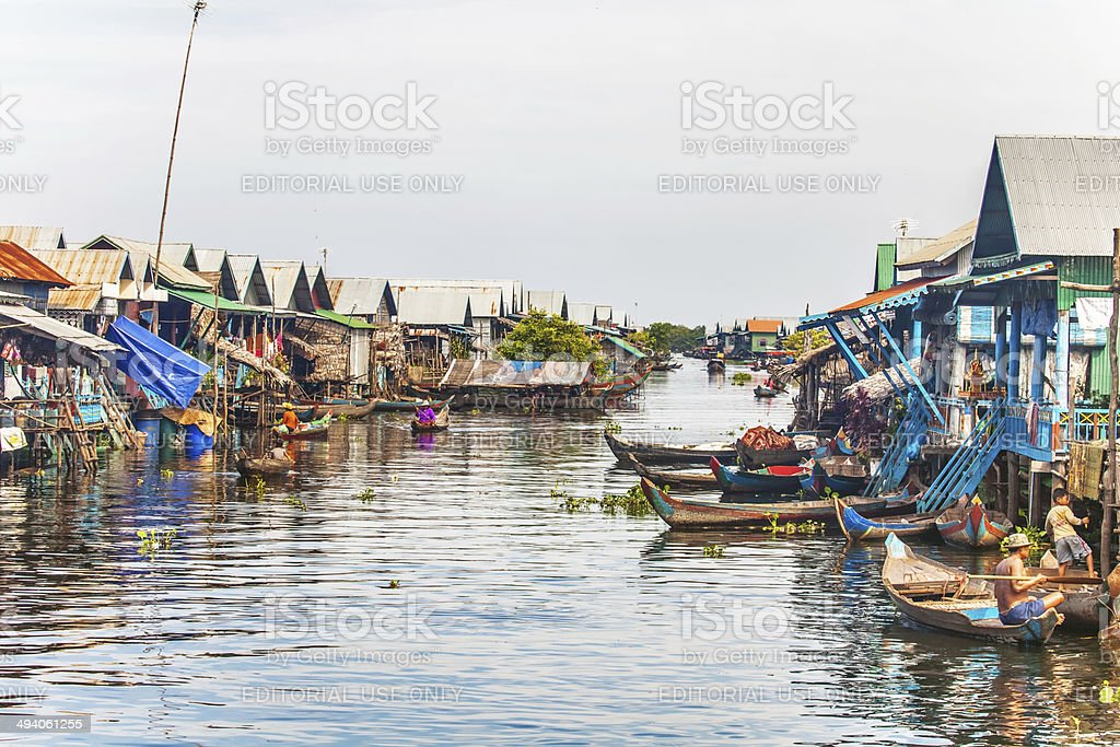 village on the water stock photo