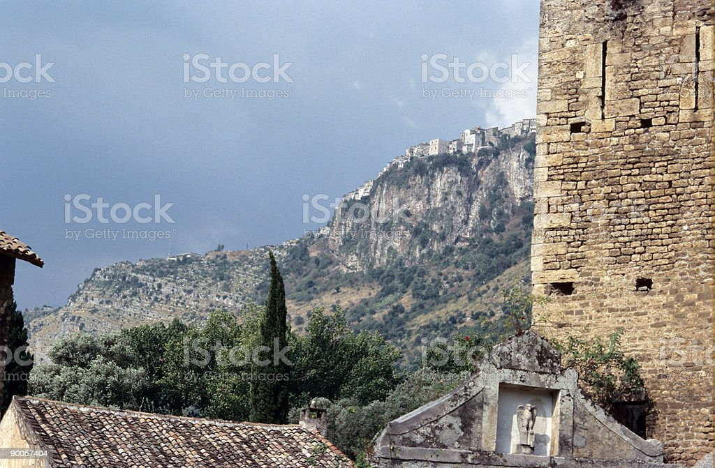 village on top of the mountain royalty-free stock photo