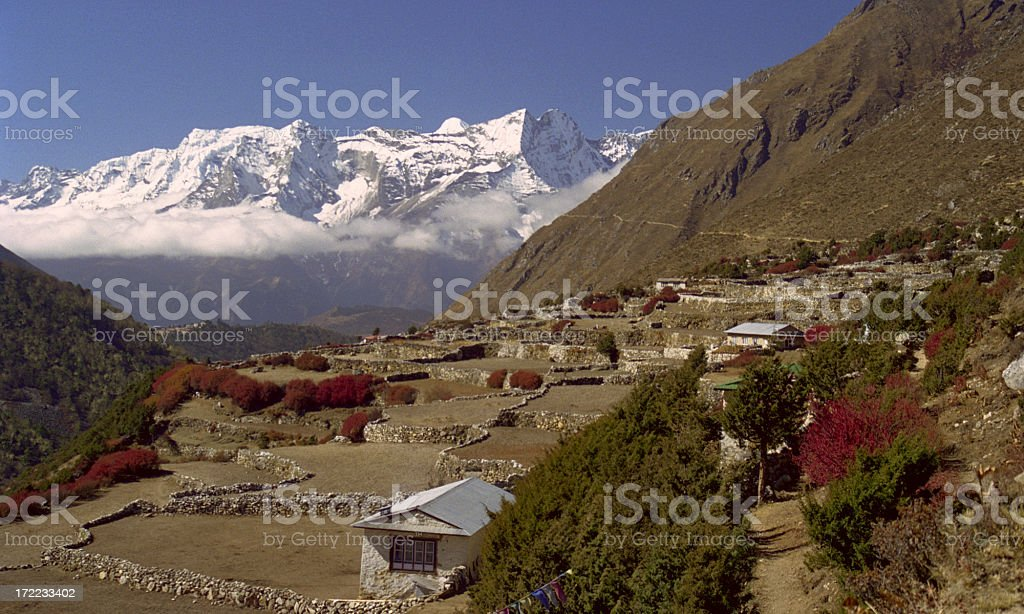 Village Pangboche in the Himalaya royalty-free stock photo