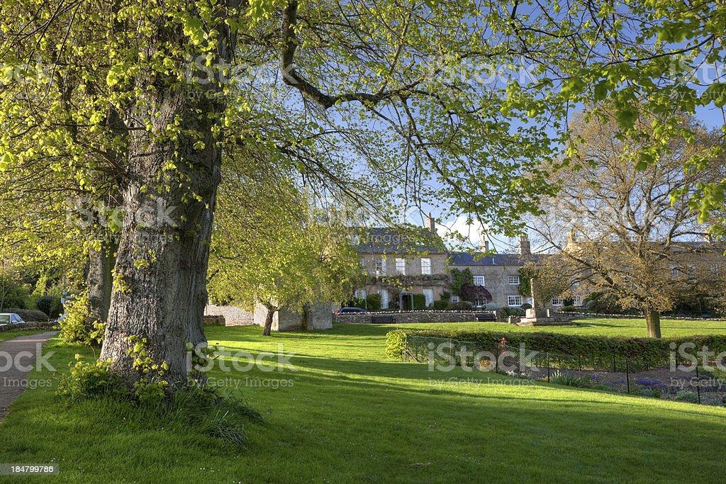 Village park at Blockley stock photo