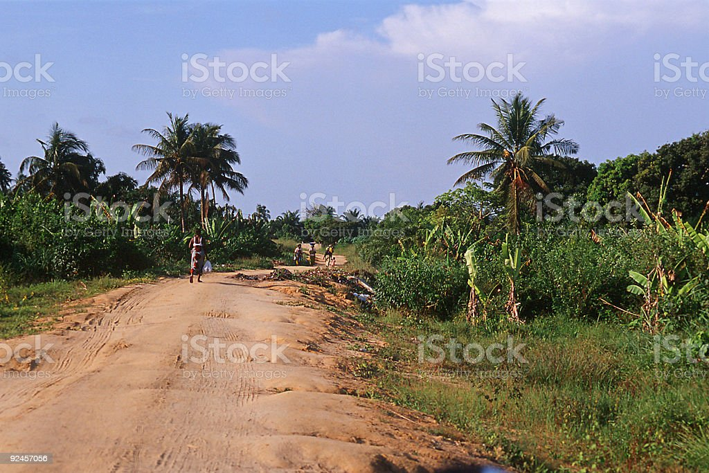village road in africa royalty-free stock photo