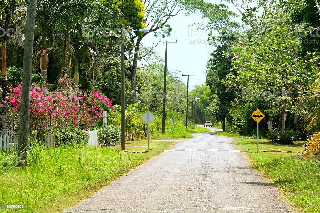 Village road with speed bump stock photo