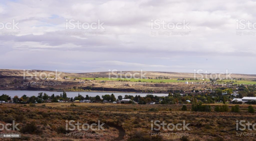 A village scenery in riverbend. stock photo