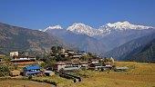 Village Sikle and snow capped Mansiri Himal range