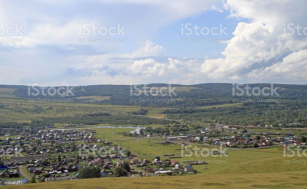 village Sim on the road between Ufa and Chelyabinsk stock photo