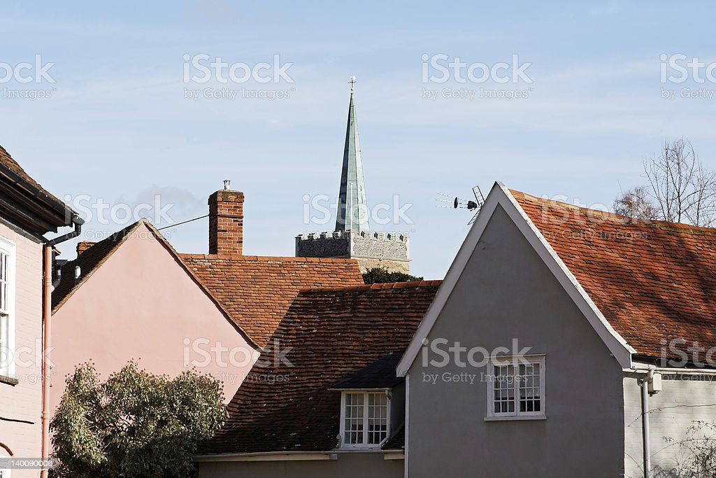 Village Skyline with a Church Steeple royalty-free stock photo