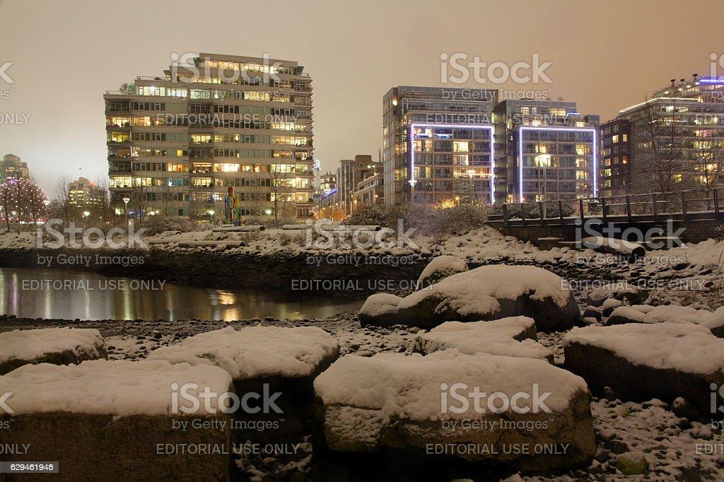 Village Snowfall stock photo