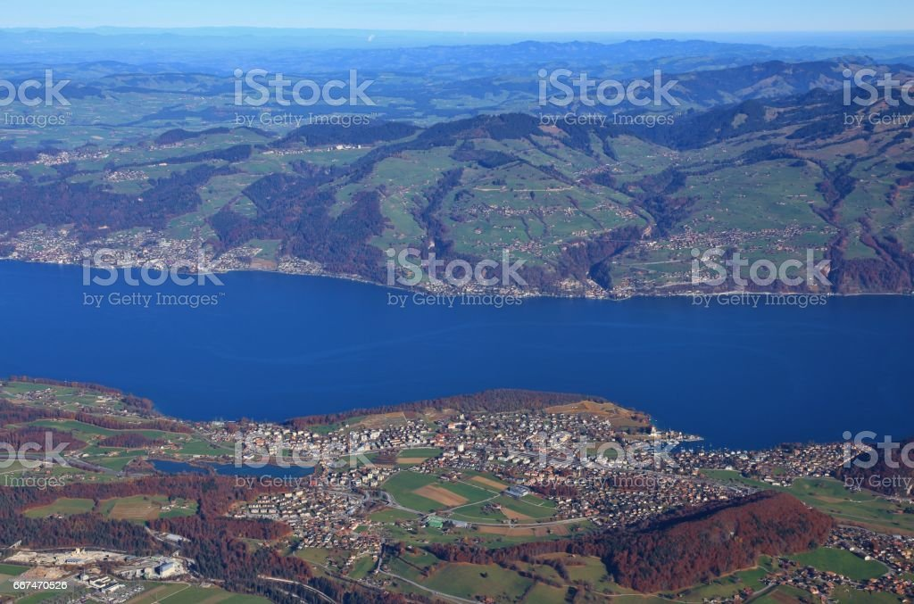 Village Spiez and lake Thunersee stock photo