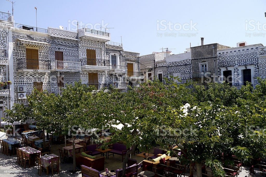 village square in pyrgi town, chios island, greece stock photo