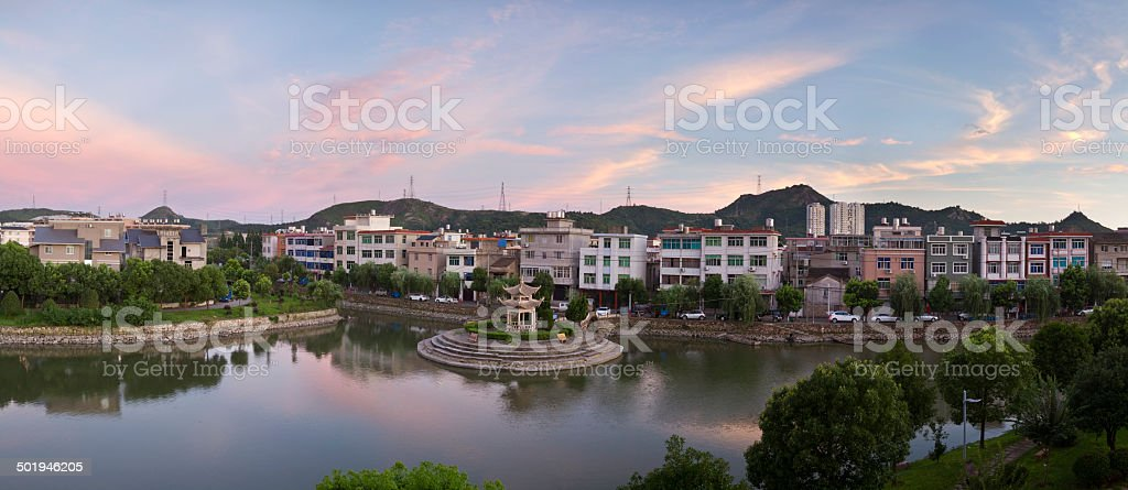 Village Sunset in Zhejiang Province,East China. stock photo