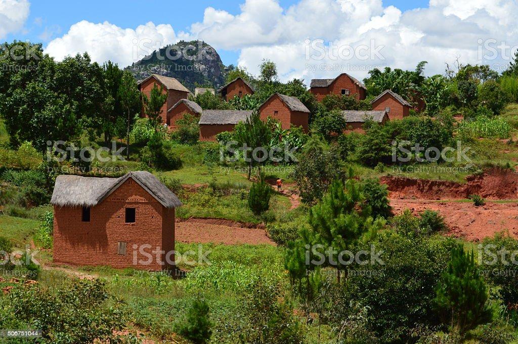 Village traditionelle Malagasy stock photo