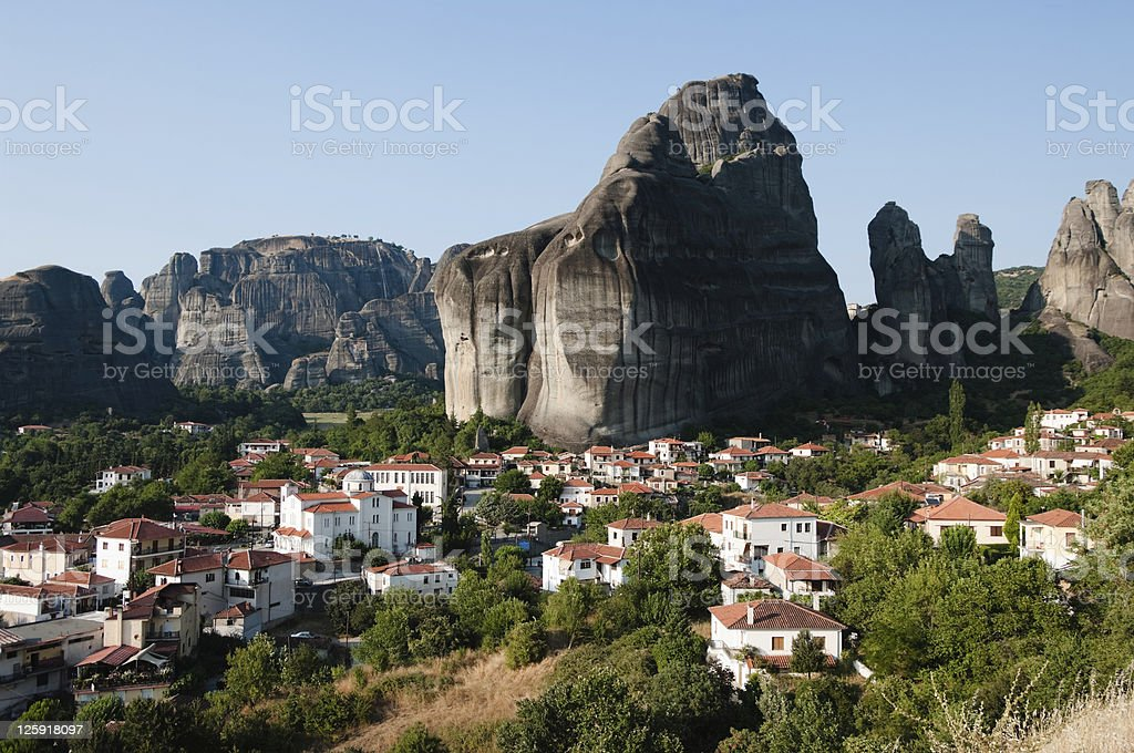 village under highs mountains stock photo