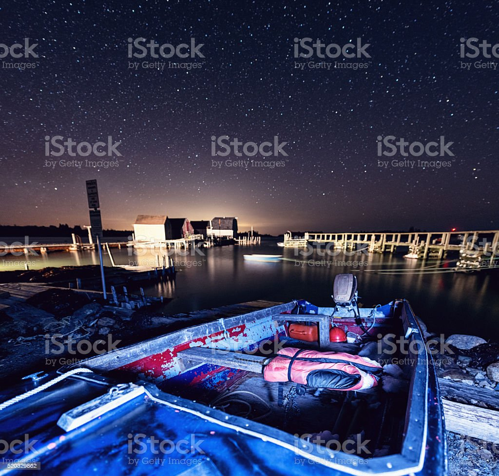 Village Wharves in the Stars stock photo