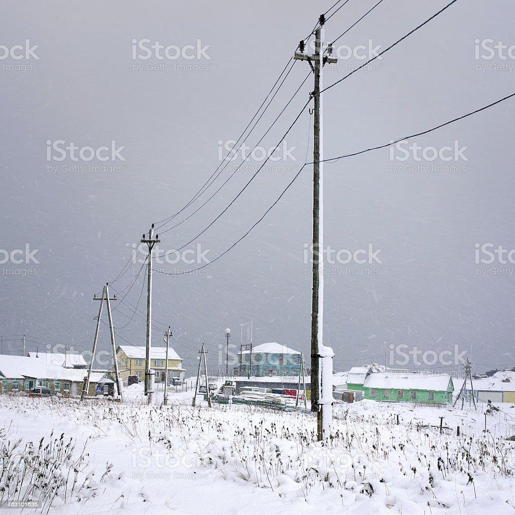 Village winter snowfall stock photo