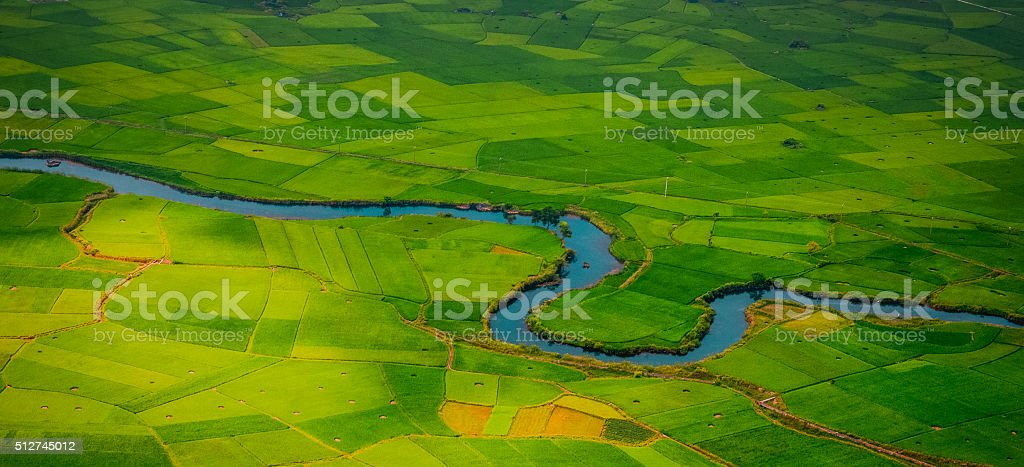 village with rice field in valley in Bac Son, Vietnam stock photo