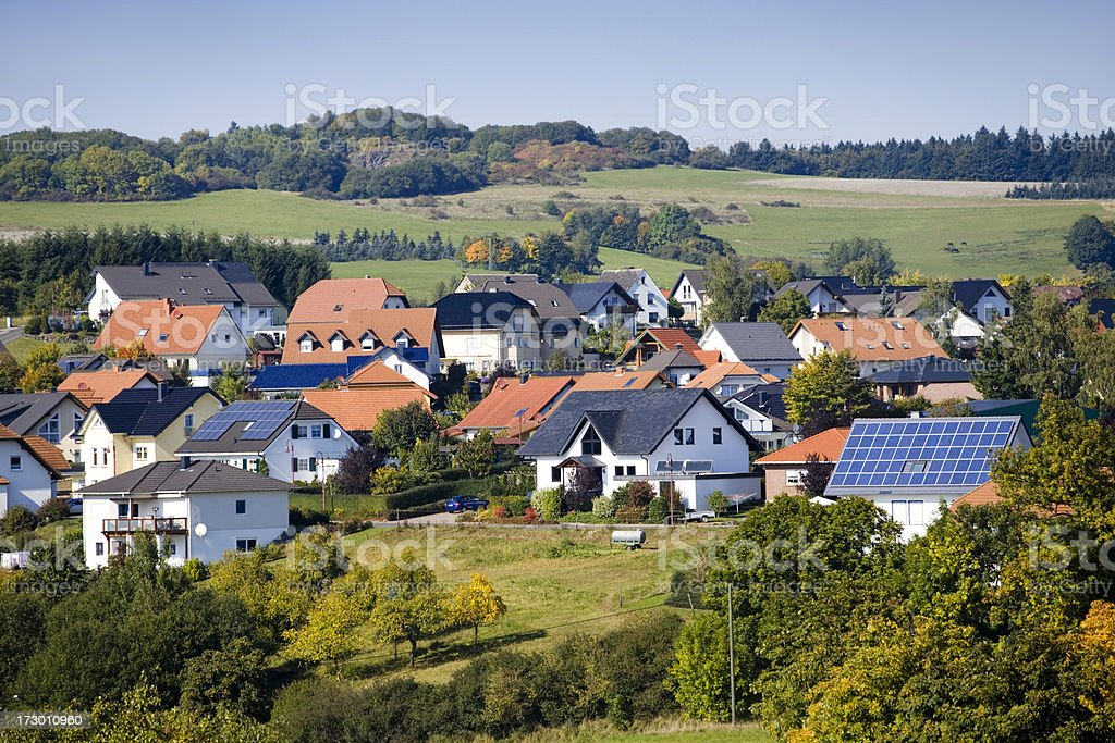 Village with Solar Panel Houses royalty-free stock photo