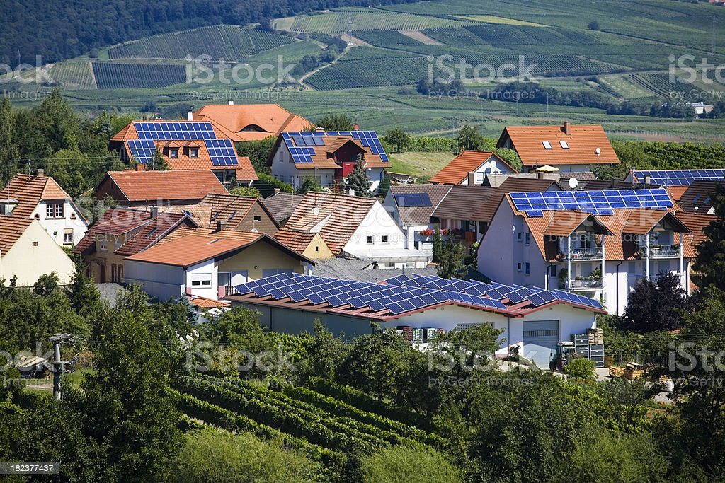 Village with Solar Panel Houses stock photo
