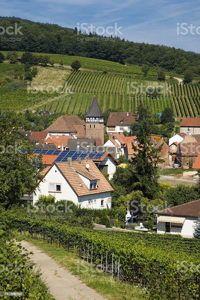 Village with Solar Panels stock photo