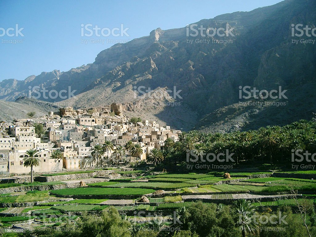 Village with terraces, Oman stock photo