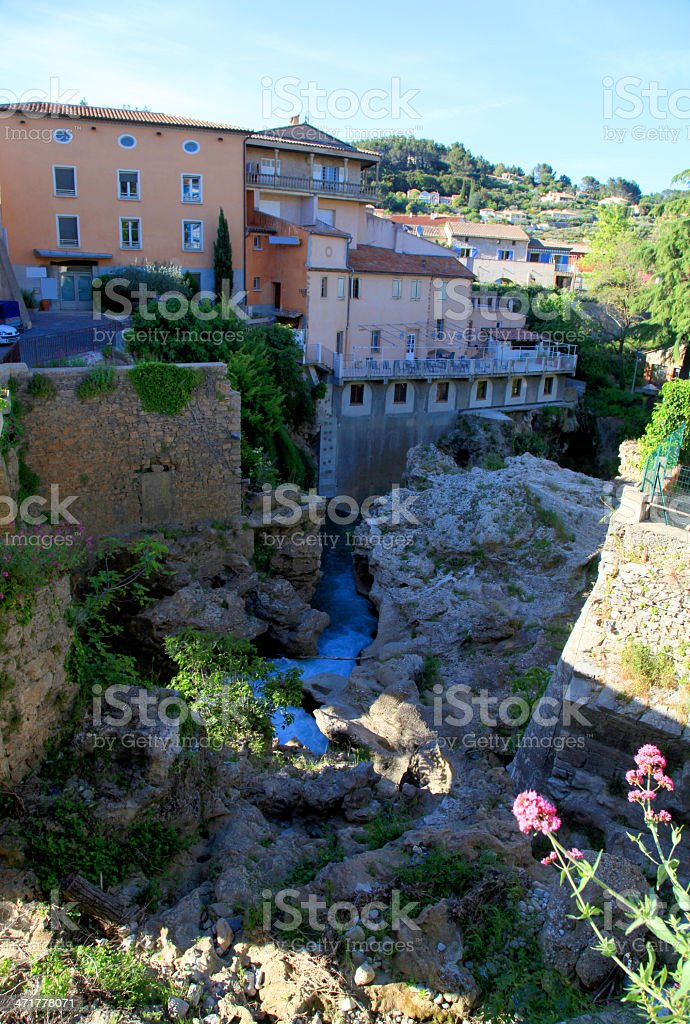 village with waterfall, Provence, France. royalty-free stock photo