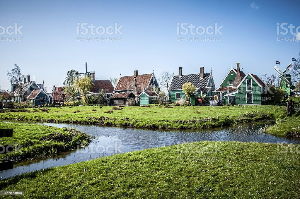 village with wooden houses stock photo