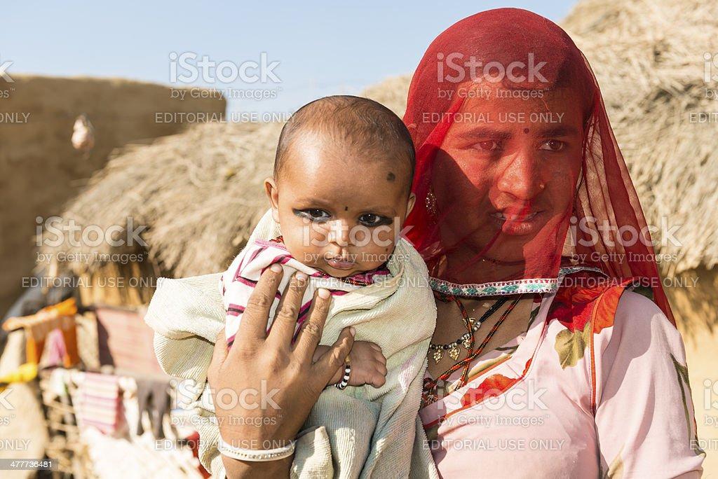 Villagers in desert Thar royalty-free stock photo