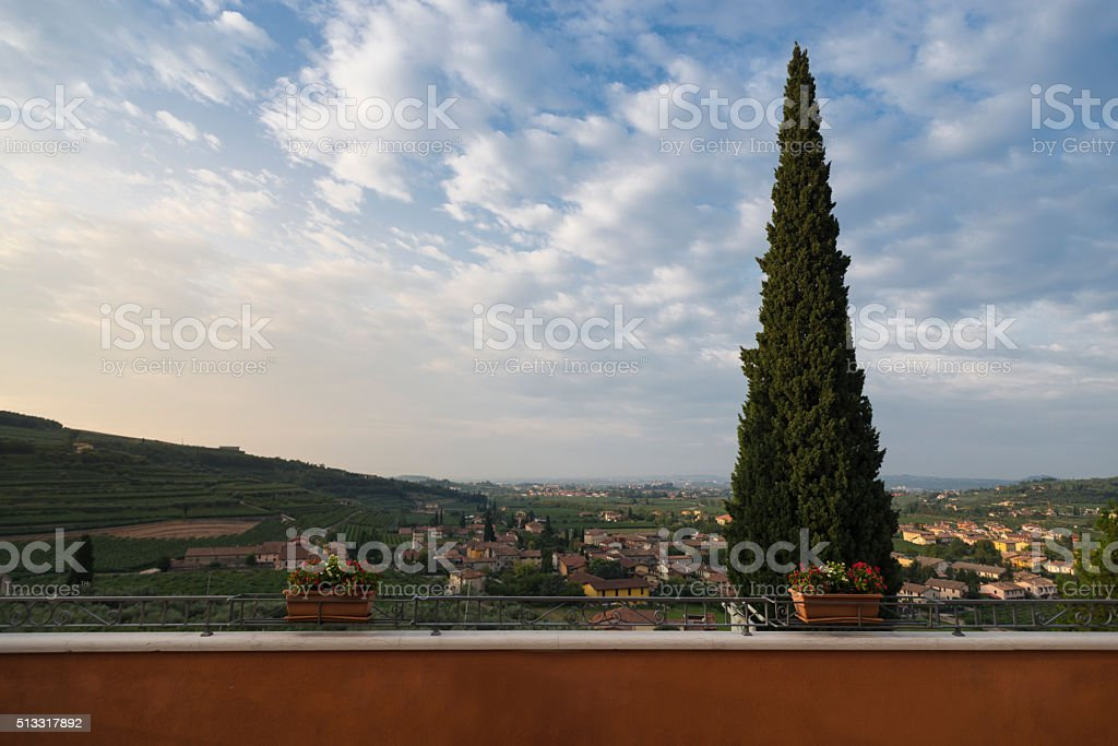 Villages and vineyards of the Valpolicella wine region stock photo