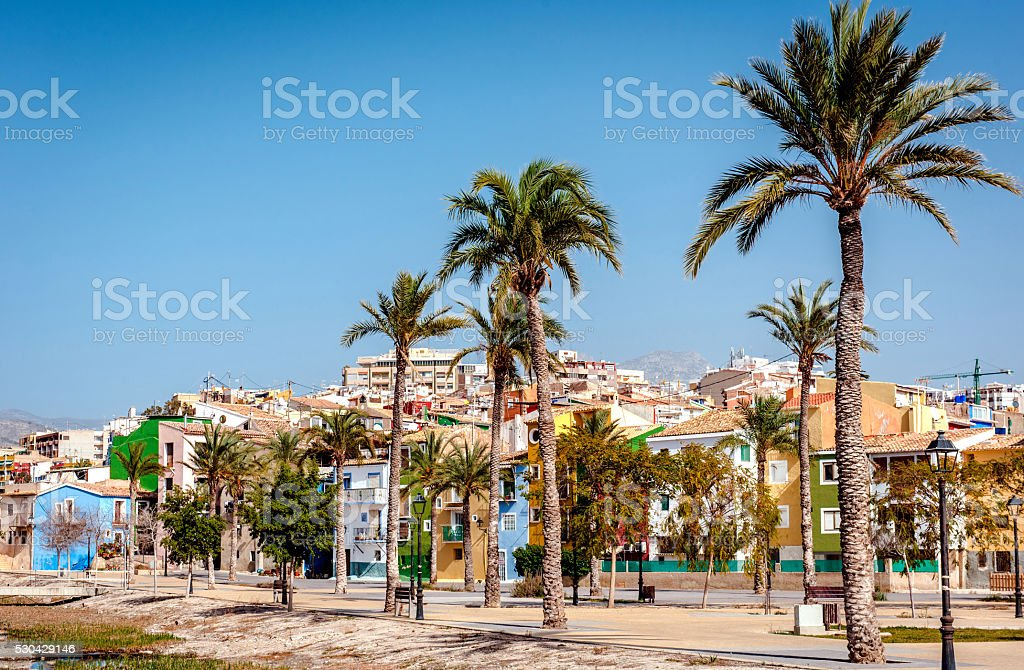 Villajoyosa town, Costa Blanca. Spain stock photo