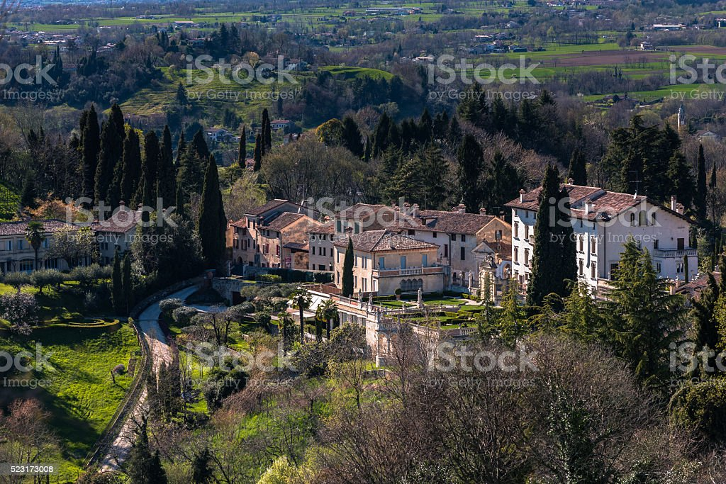 Villas and hills of Asolo stock photo