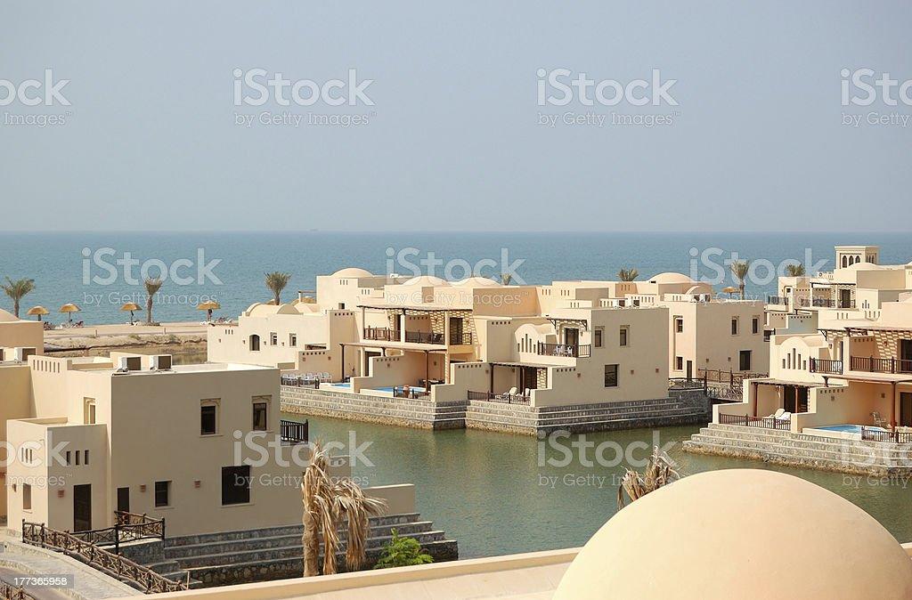 Villas at the luxury hotel, Ras Al Khaimah, UAE stock photo