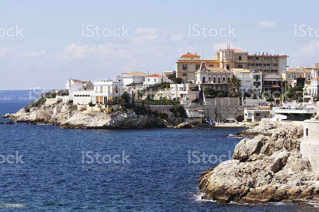 Villas on the Mediterranean stock photo