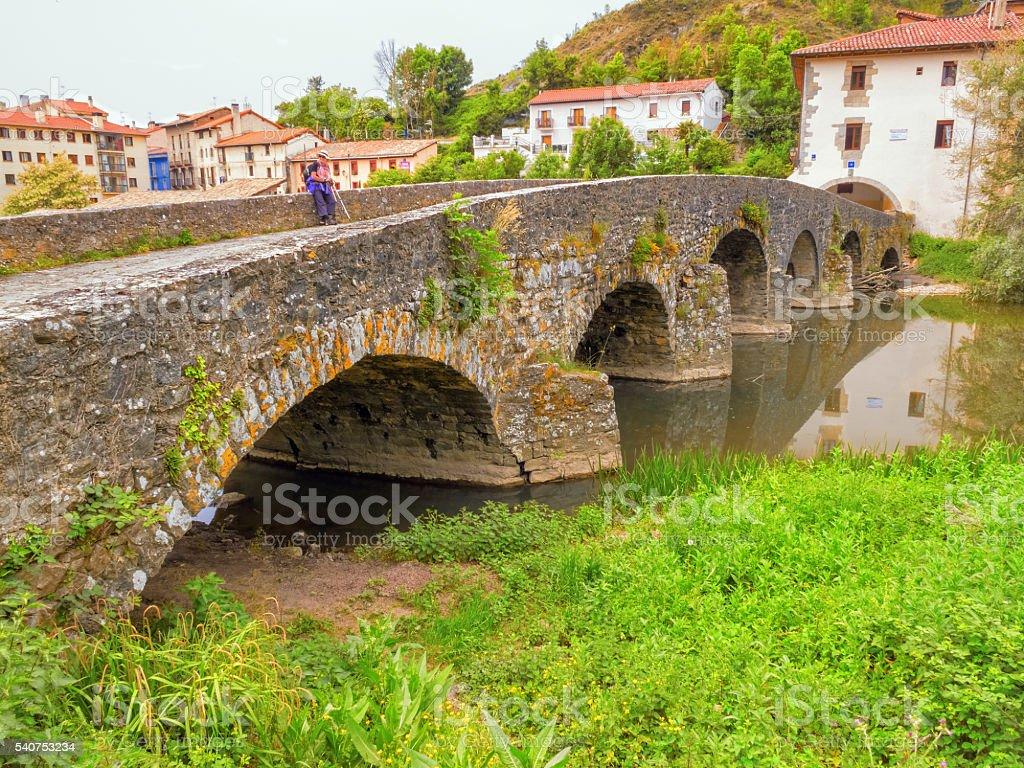 Villava mediaeval bridge, called Puente de la Trinidad, Camino d stock photo