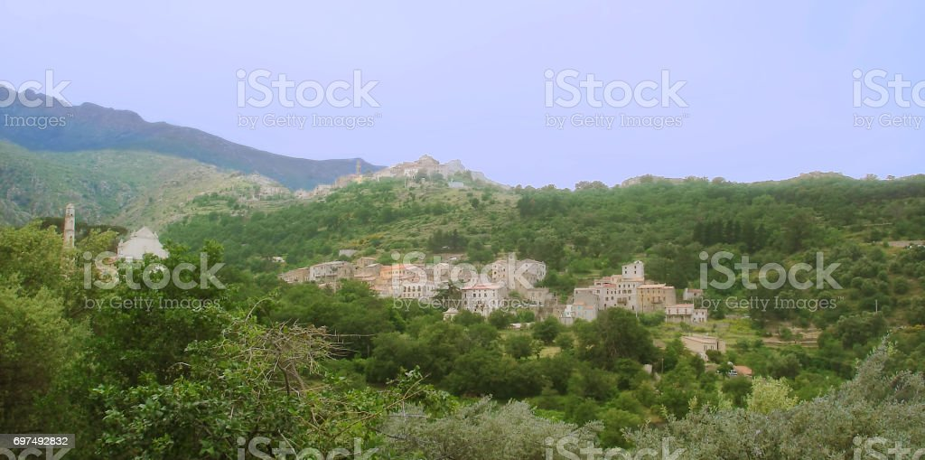 Ville di Paraso and Speloncato Panorama on Corsica island stock photo