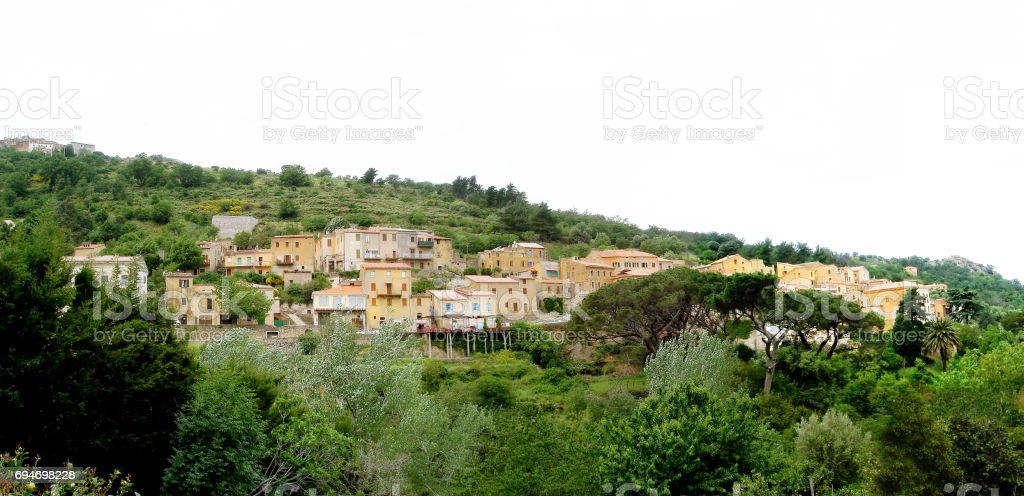 Ville di Paraso Panorama on Corsica island stock photo