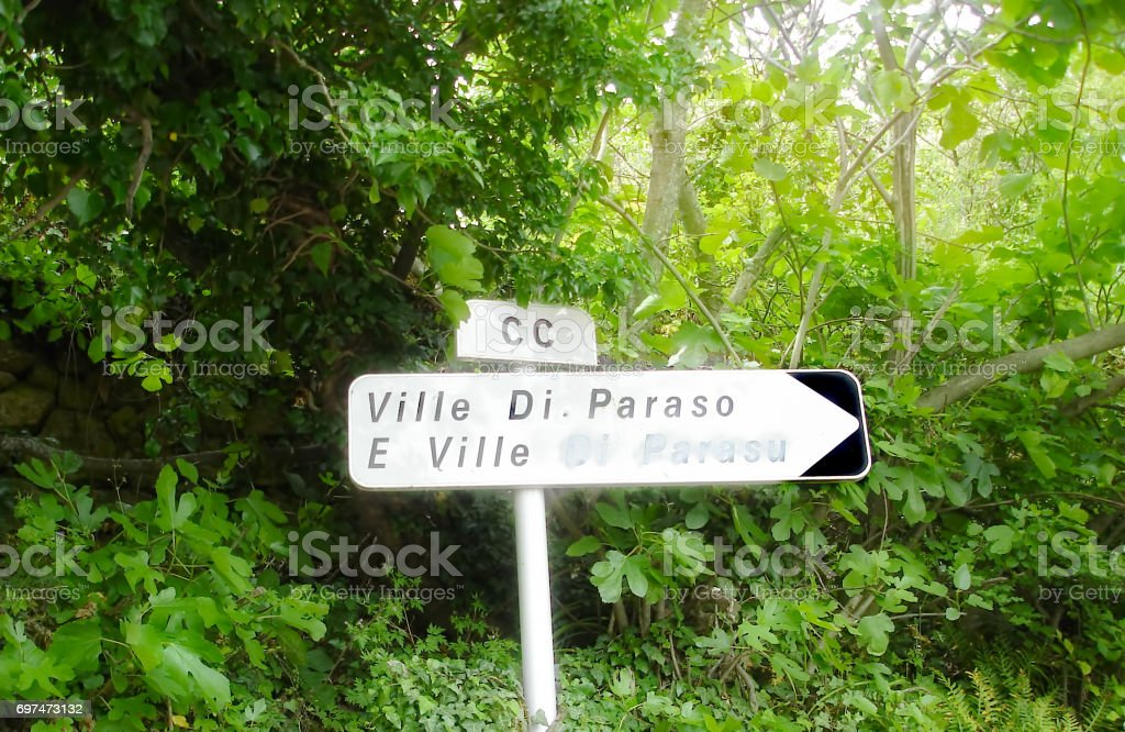 Ville di Paraso Village name sign in Corsican Haute Balagne stock photo