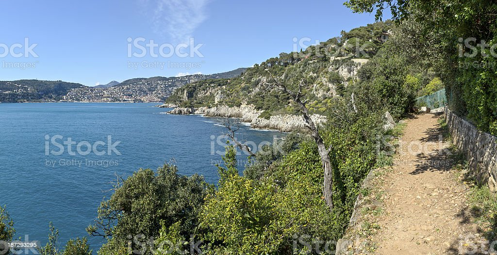 Villefranche Bay from Coastal Footpath of Cap Ferat royalty-free stock photo