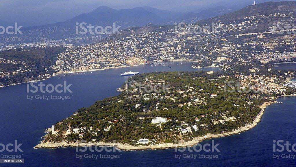 Villefranche, France, port and Cap Ferrat stock photo