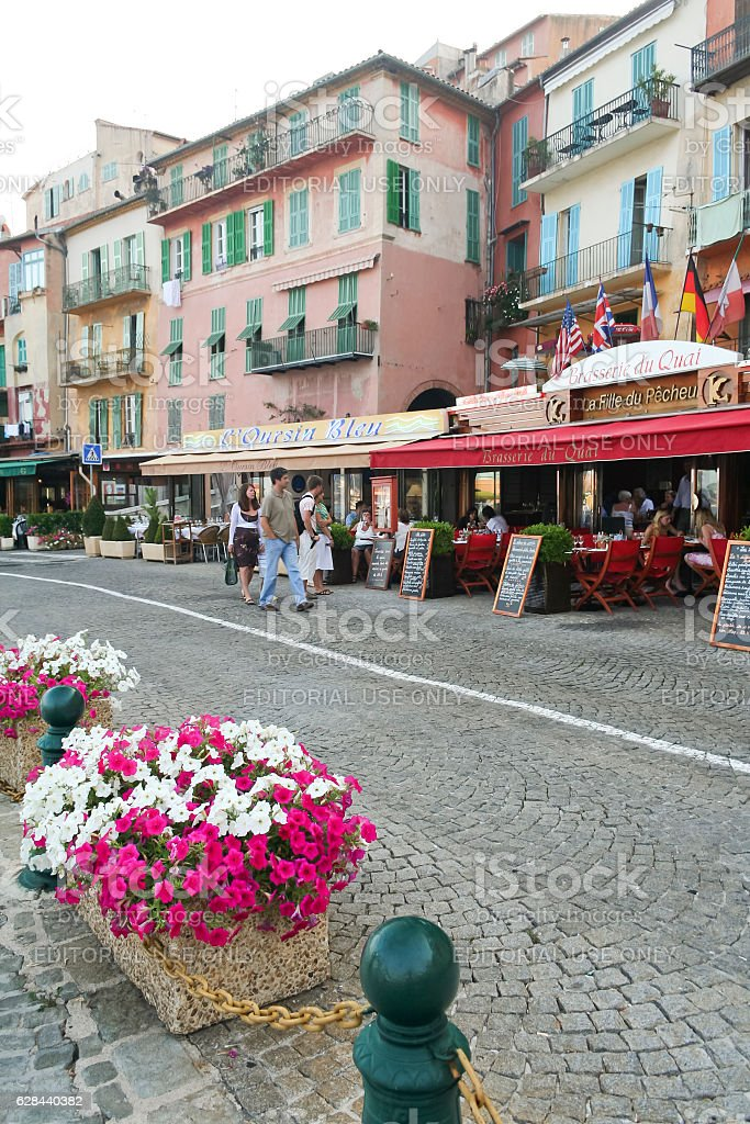 villefranche sur mer seafood restaurants france stock photo