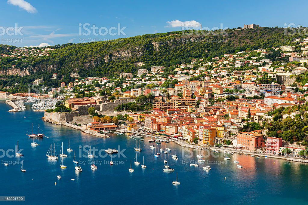 Villefranche-sur-Mer view on French Riviera stock photo
