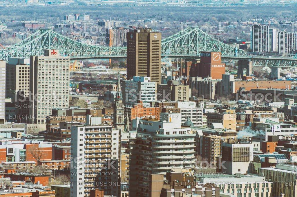 Ville-Marie disctrict and Jacques Cartier Bridge stock photo