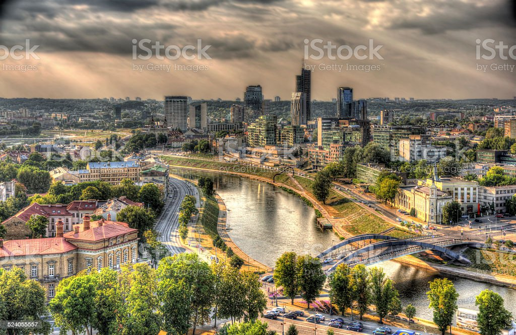 Vilnius as seen from the castle, Lithuania stock photo