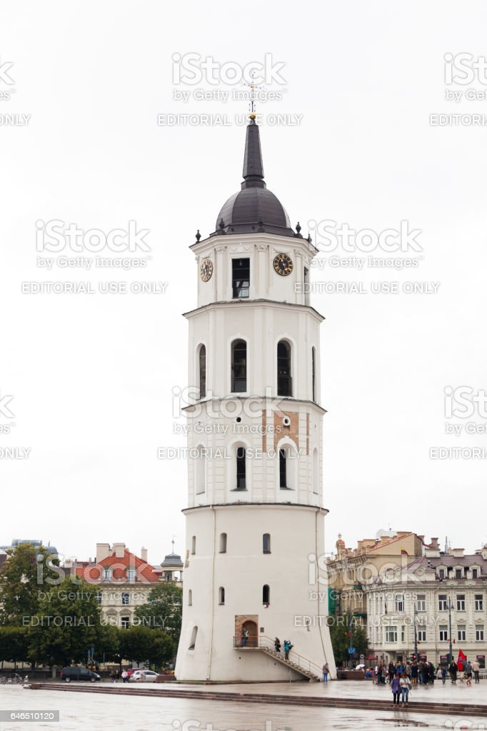 Vilnius Cathedral and its bell tower. stock photo