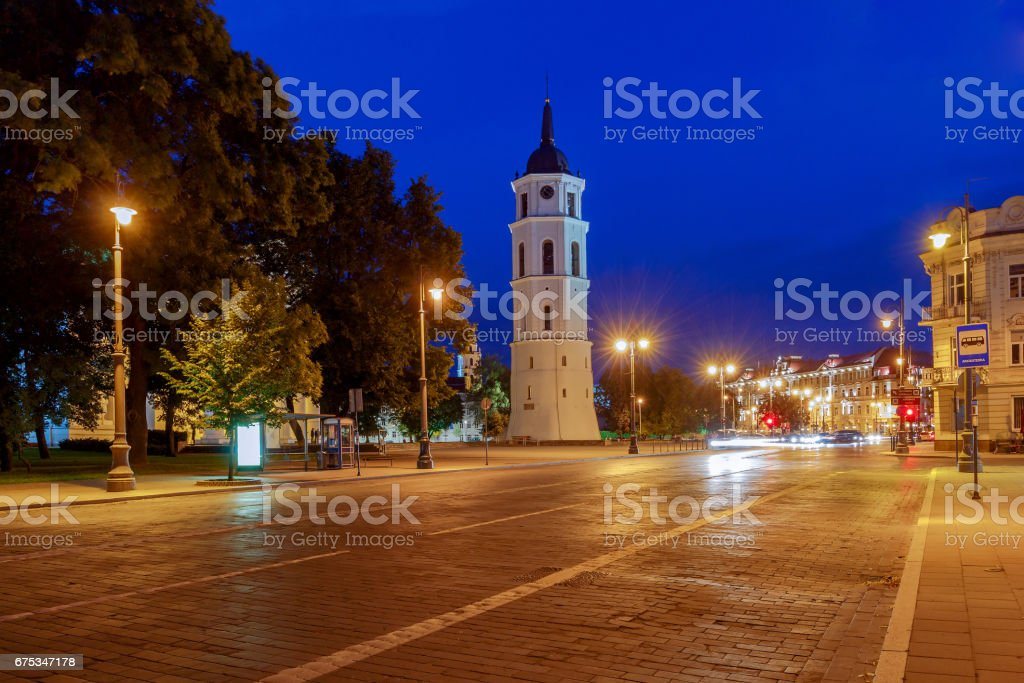 Vilnius. Cathedral of St. Stanislaus in the central square stock photo