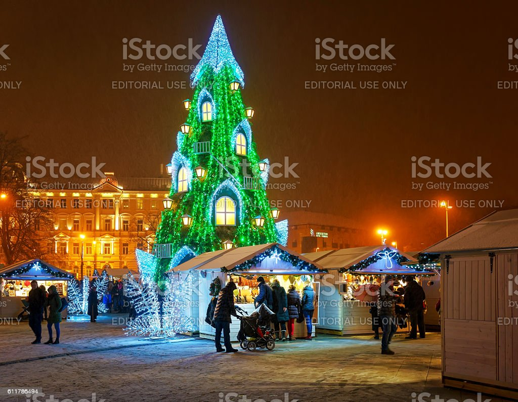 Vilnius Christmas Market and the Christmas tree in Lithuania stock photo