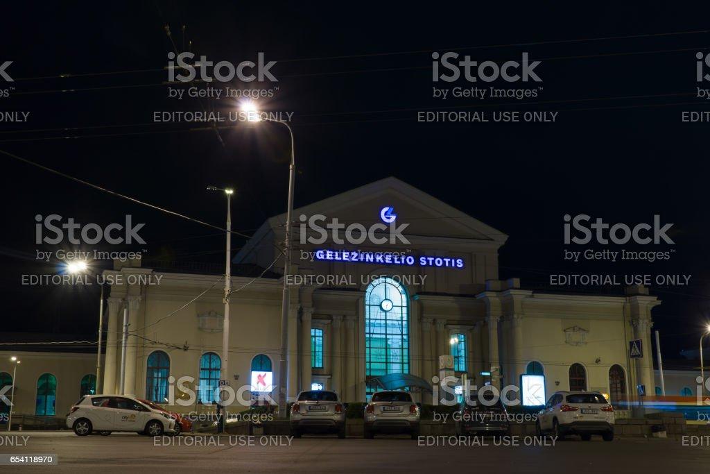 Vilnius city at night. stock photo
