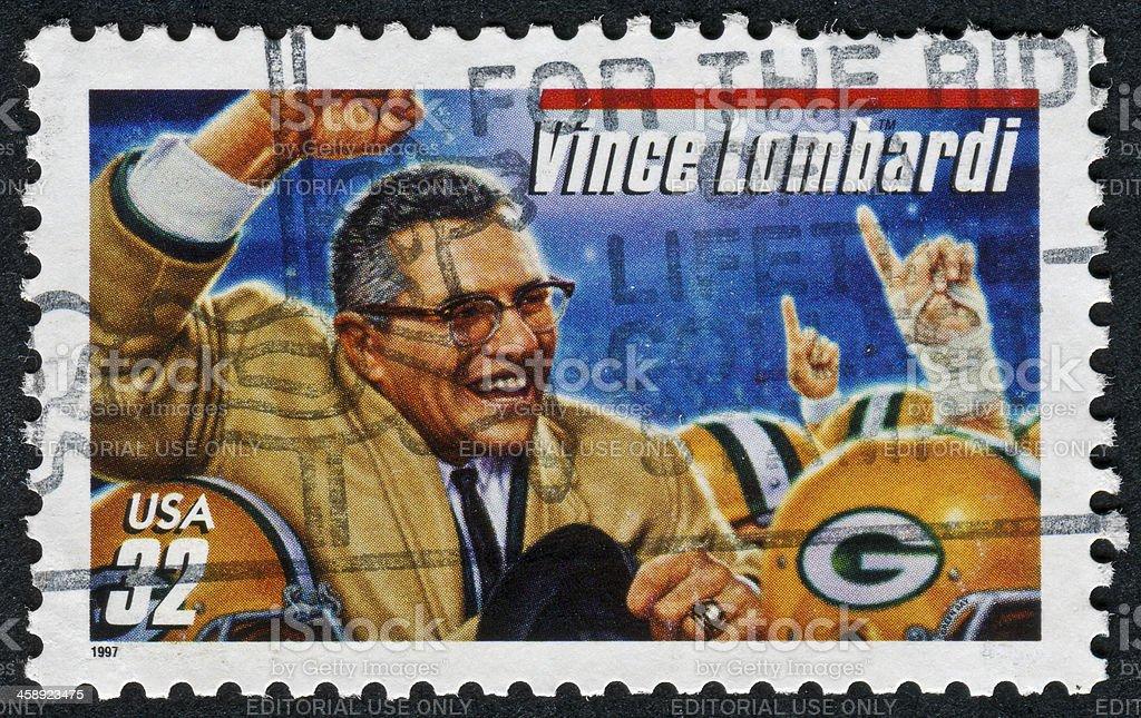 Vince Lombardi Stamp stock photo