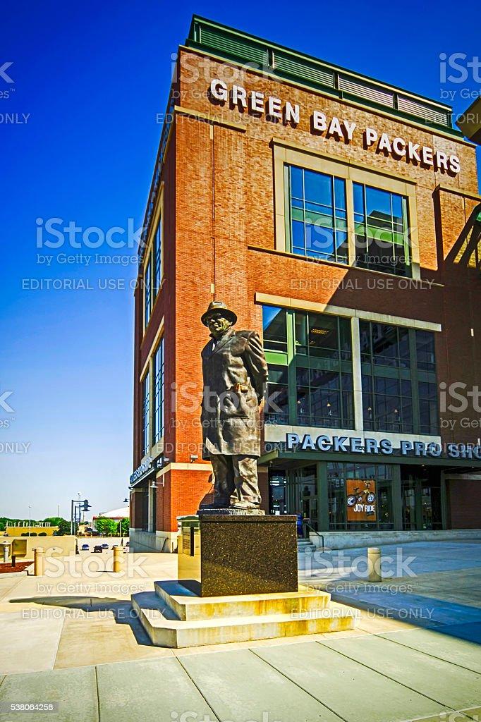 Vince Lombardi statue and Lambeau Field stadium, Green Bay WI stock photo