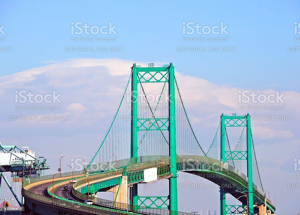 Vincent Thomas Bridge in San Pedro, California stock photo