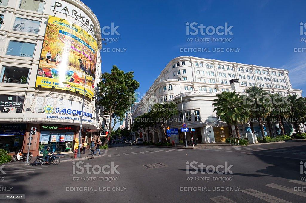Vincom center at downtown street at Nguyen Hue Pedestrian Street royalty-free stock photo